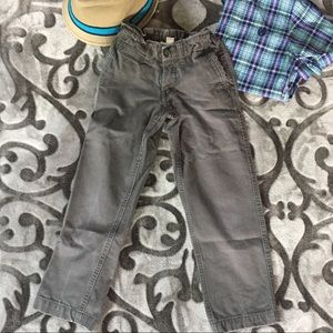 Boys Gray Pants Lands End Size 6 Adjustable Waist
